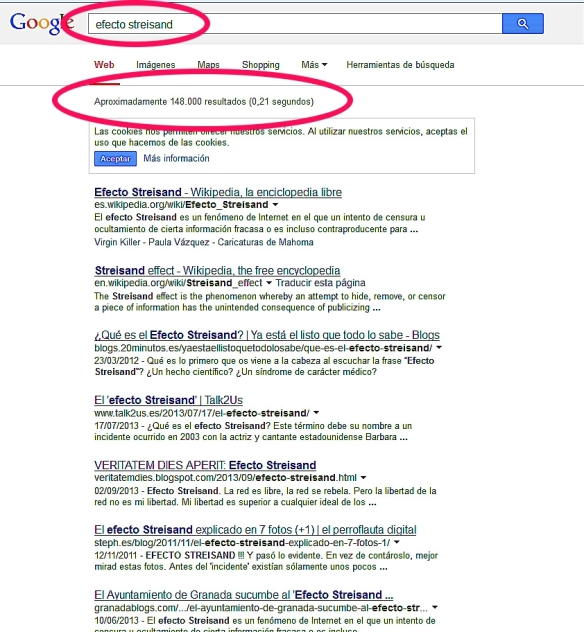 Efecto Streisand búsquedas